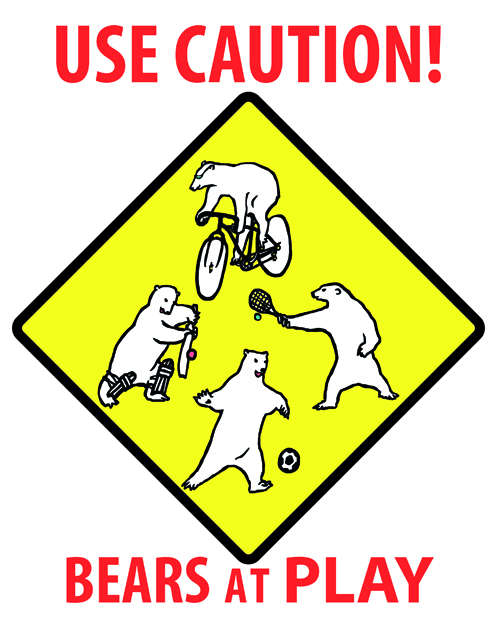 design in the form of a warning sign showing four polar bears playing