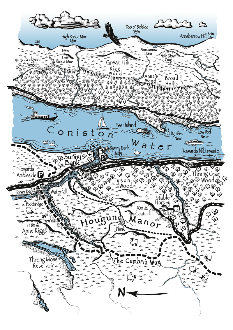 map drawing of Coniston Water