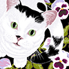 Cat with sage eyes and pansey flowers