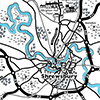 Line drawing map of Shrewsbury area