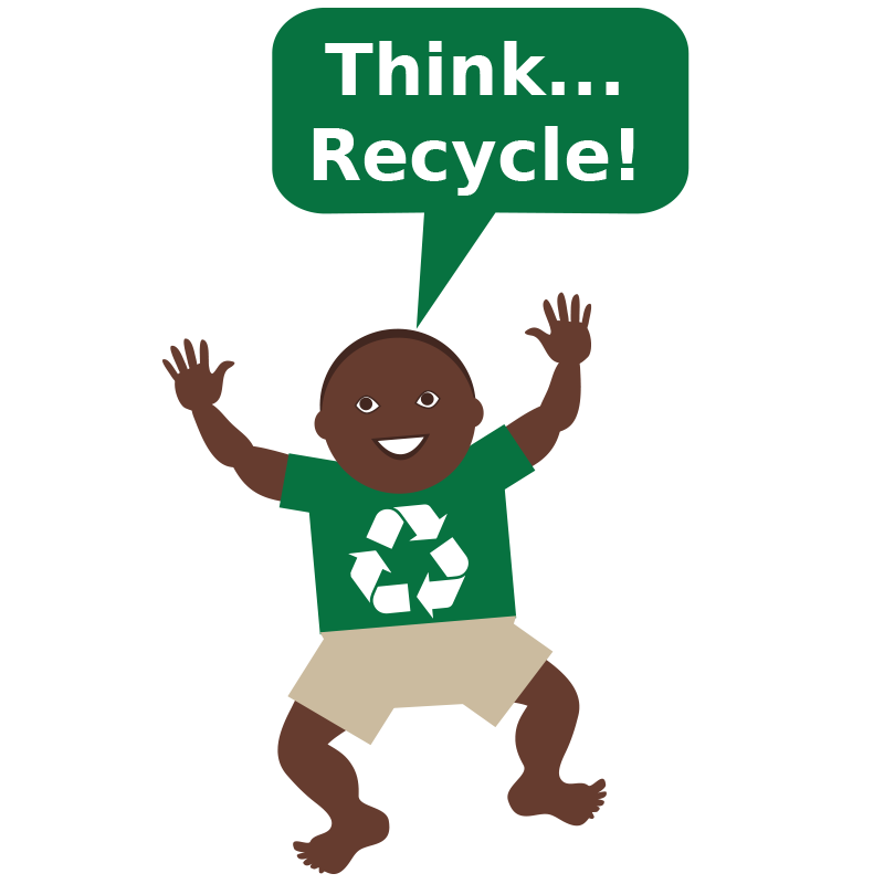 picture of baby saying think recycle