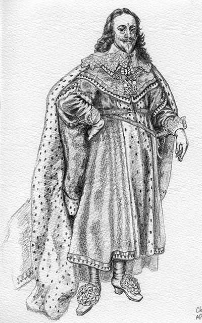 pencil sketch of King Charles 1 after van Dyke